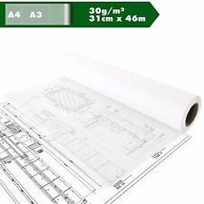 Skizzenpapier Skizzenrolle Tracing paper Transparent A3 A4 30g/m² ca.31cm x 46m