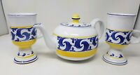 Herend Hungary - Village Pottery Teapot and Footed Mugs - Splash Design