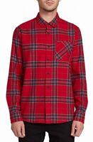 Volcom Mens Shirt Red Blue Size XL Caden L/S Button Down Plaid Flannel $60 244