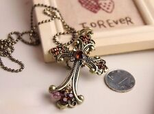 LONG BRONZE  PLATED DIAMANTE  CRYSTAL CROSS NECKLACE  PENDANT