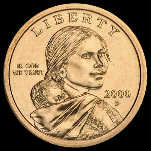 """2000 P Sacagawea Dollar US Mint Coin in """"Brilliant Uncirculated"""" Condition"""