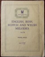 Englisch, Irisch, Scotch Und Welsh Melodies Vo.iii Klavier Solo – Kneipe 1925