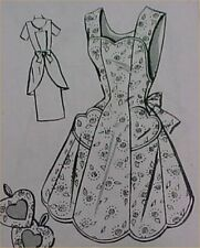 Vintage Bib Full Size Apron Pattern 40s Details Sewing Fabric Project Size Large