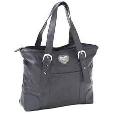 Womens Black Leather Purse Shoulder Hand Bag Tote Silver Tone Heart Concho