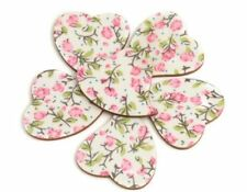 10 30mm VINTAGE Stick On Wooden HEART Card Toppers Making CRAFT SHABBY CHIC