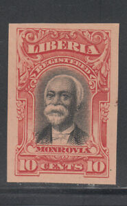 Liberia # F13 IMPERF COLOR TRIAL in RED On Pink Paper 1903 Registration Set