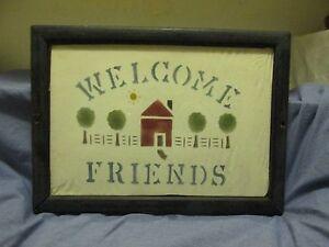New England~Folk Art~Hand Created~WELCOME FRIENDS~Wood~Glass~Paper~Wall Hang~Vtg