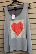 NEW WOMENS PLUS SIZE 3X GRAY HACCI TANK TOP SHIRT W RED ROSE PETALS FOR HEART