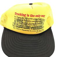 Trucking Is The Only Way Trucker Driver Hat Yellow Mesh SnapBack Travel Dispatch