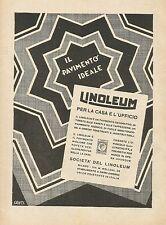 Y1203 LINOLEUM - Il pavimento ideale - Pubblicità 1930 - Advertising
