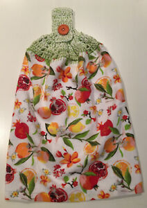 Cotton Crochet Button-up Hanging Hand wipe Tea Towel - Pomegranate- Single Sided