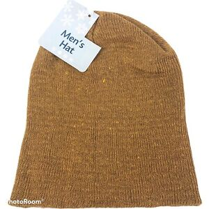 Men's One Size Knit Hat Beanie Toboggan Yellow Mustard Gold New with Tags Warm
