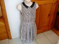 Ladies Atmosphere black and white dress with faux leather collar size 10 vgc a