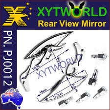 PJ0012 Universal Chrome Alloy Mirrors side rear view Fire Flame Steam motorcycle