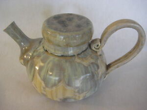 """Large Art Pottery Tea Kettle Pot By Mark Winner, 11.5"""" L With Handle (Rare)"""