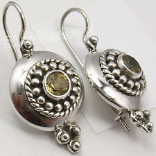 925 Solid Silver Exclusive CITRINE ELEGANT ANTIQUE STYLE Earrings 1 1/4 inches