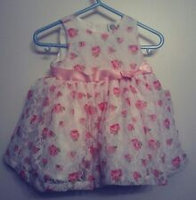 Little Me White Floral Lace Infant Dress Size 6 Months Pink Flowers Girls