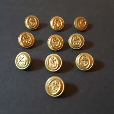 Lot of 10 Navy Naval Uniform Gold Anchor Academy Buttons Nautical