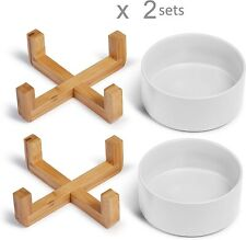 2X Gamelle Céramique pour Chat Chien avec Bambou Support Bol Animaux Mangeoire