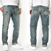 Nudie Herren Regular Fit Jeans Hose - Fearless Freddie Scribble Deni