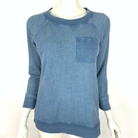 Soft Surroundings Blue Thermal Pocket Tee Shirt Long Sleeve Cotton Top Women P S