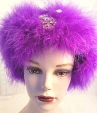Handmade Purple Ear Warmer Marabou Feathers and Rhinestone Pin