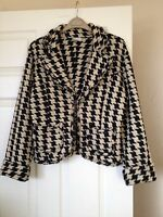 Ladies black jacket Size 14  NEXT Black / white dogtooth autumn fitted office