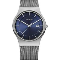 BERING Armbanduhr Herren Saphirglas silber blau Datum Edelstahlband NEUHEIT