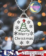 New Merry Christmas Tree Snow Holiday Womens Pendant Necklace