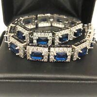 Gorgeous Blue Sapphire Diamond Bracelet Women Wedding Engagement Jewelry Gift
