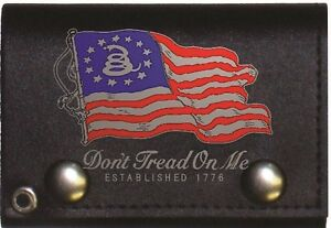 Betsy Ross Gadsden 1776 Black Genuine Leather Wallet With Chain (4 Inch)