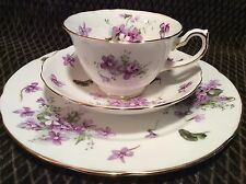 Hammersley Victorian Violets Bone China 3 pc. Dessert set ,