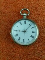 Fine Solid Silver 37mm fob pocket watch working. C1880's 19th century.