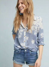 NWT $128 Maeve Rosealee Silk Blouse Size 14 Blue Floral
