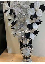 Romany Flower Vase Mosaic Italian Blingy Black White Silver Flowers
