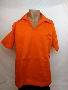 Genuine Inmate uniform pullover safety orange shirt, security staff, costume,