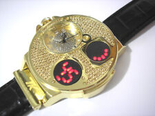 Gold Tone Case Leather Band Techno King Men's Watch Crystals w. Touch Screen