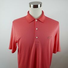 Greg Norman Mens Polyester Play Dry Ss Salmon Pink Striped Golf Polo Shirt Large