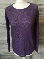 NEXT Dark Purple Animal Print Long Sleeve Blouse Size 8