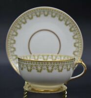 Chas Field Haviland CFH GDA Limoges Green Clover Garlands & Gold Teacup & Saucer
