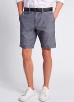 Ex Marks and Spencer Mens Navy Pure Cotton Shorts Size 32 34 36 38 40 42 (TS12)
