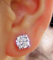 2.00 Carat Solitaire Real Diamond Earrings Solid 14Kt White Gold Women's Studs /
