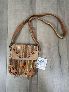 Gringo Fairtrade Cotton Gheri And Leather Shoulder Bag