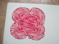 """Vintage Hand Crocheted Square Doily Pink and Red Square  11"""" Doily Centerpiece"""
