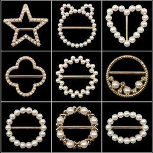 Pearl Scarf Buckle Brooch Slim Waist T-Shirt Buckles Ring