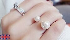 Adjustable Open Pearl Ring in Gold - UK Free P&P