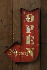 Rustic Industrial Marquee Sign Arrow Open 24 Hours LED Marquee Sign Wall Decor