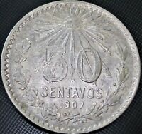 **Straight 7** 1907 Mexico 50 Centavos Cap & Rays KM#445 Silver Coin