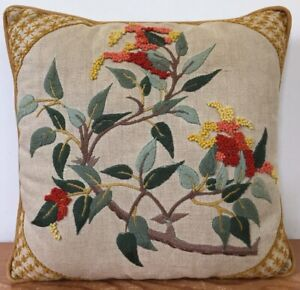 """Vintage Asian Style Hand Embroidered Wool Crewel Needlepoint Throw Pillow 12"""""""