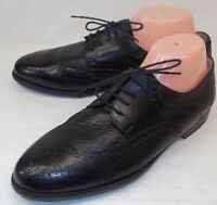 Saks Fifth Ave Mens US 8 Black Leather Brogue Lace-up Dress Shoes Vibram Sole